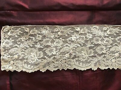 """ANTIQUE LACE EDGING  - intricate Floral design  Blonde colour 35"""" by 4 1/2"""""""