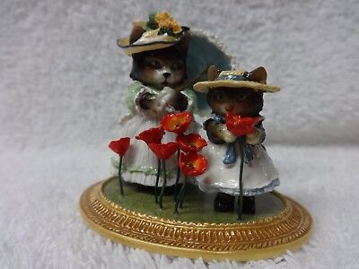 Wee Forest Folk Cats with Poppies ala Monet MU-7 MIB Museum Series