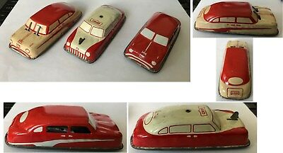 Vintage lot of 3 ARGO TIN LITHO TOY CARS working wipers, windows NO RUST
