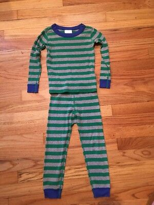 Hanna Andersson Boys Size 100 Or 4 Pajamas Green Gray Stripes