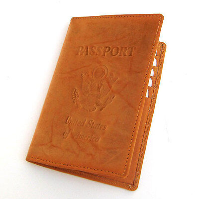 TAN USA PASSPORT PREMIUM COWHIDE LEATHER COVER Travel Card Case Wallet NR___