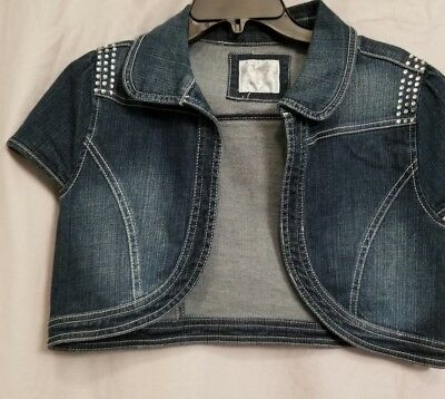 Justice Embellished Denim Jeans Cropped Cap Short Sleeve Jacket Vest Girls 18
