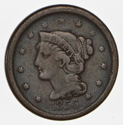 160 Years OLD - 1856 - US Type Coin Braided Hair Large Cent - Nice Shape *673