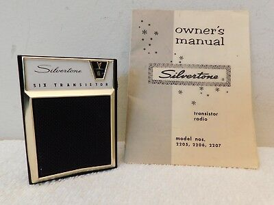 VINTAGE OLD 1950s ANTIQUE SILVERTONE TRANSISTOR RADIO NO CRACKS & INSTRUCTIONS