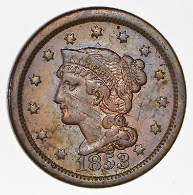 160 Years OLD - 1853 - US Type Coin Braided Hair Large Cent - Nice Shape *677