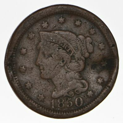 160 Years OLD - 1850 - US Type Coin Braided Hair Large Cent - Nice Shape *678