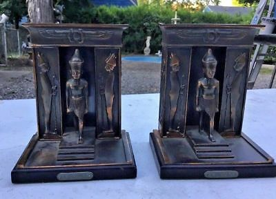 Pair Of Vintage Antique Egyptian Revival Bookends With Figural Pharoah Thotmus