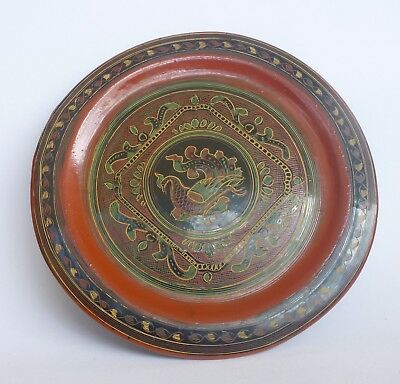 Asian Oriental Burmese Myanmar Plate Tray Lacquered Wood Decor Display