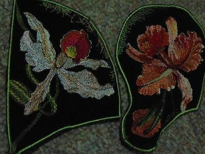 Vintage Embroidered Velvet Silk Backed Patches 1940s Flowers Botanical Orchids