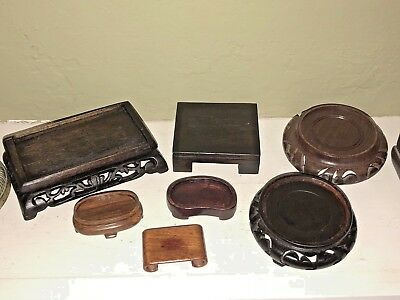 Carved Asian Rosewood Display Stand - Lot Of 7