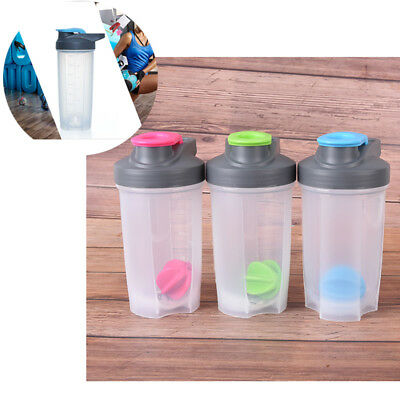 1pc 500ml protein shaker sports fitness bottle gym water bottle with mixedballSE