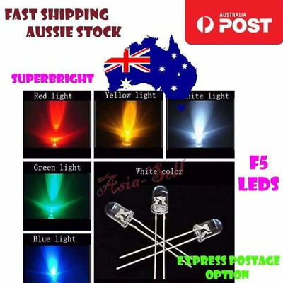 100x F5 LEDs 5mm UltraBright Red Green Blue White Yellow Ultra Bright LED Diode