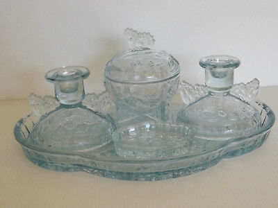 Sowerby Blue Depression Glass 5-Pce Butterfly Dressing Table Set