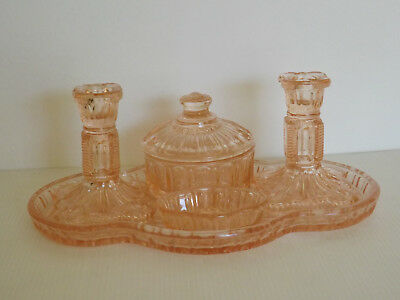 Pink Depression Glass 5 Pce Dressing Table Set