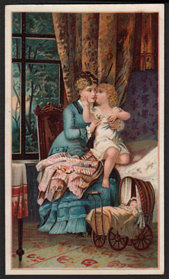 Arbuckle's Ariosa Coffee Scarce 1890's Victorian Trade Card VTG Mother Child Art