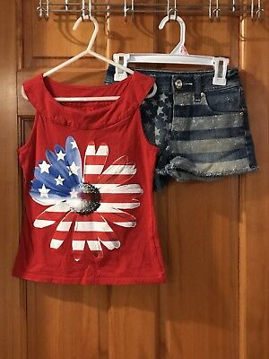 Justice 4th Of July Patriotic 2 Piece Set Kid Girl Size 8/10S Tee Flag Shorts