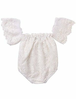 Newborn Baby Girl Clothes Off Shoulder Flower White Lace Romper Jumpsuit Outfits