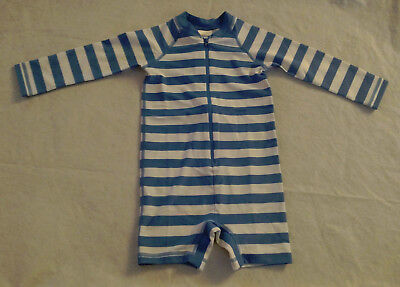 NWT Hanna Andersson Blue Striped Swimmy Rash Guard 1PC Swimsuit Baby Toddler Boy