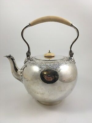 Antique  1863  John Samuel Hunt  English  Sterling Silver Tea Kettle