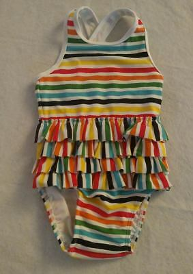 NWT Hanna Andersson Rainbow Stripe Ruffled Swimmy 1PC Swimsuit Baby Toddler Girl