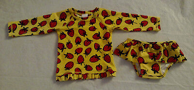 NWT Hanna Andersson Strawberry Rashguard Ruffled 2PC Swimsuit 85 2T Toddler Girl