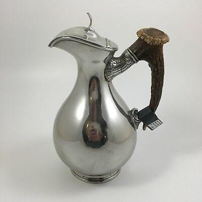 1880s James Dixon & Son Pitcher Silver Plate With Deer Antler Handle