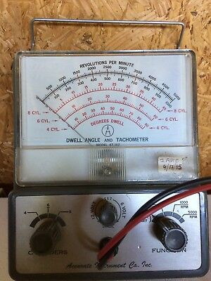 Accurate Instrument Co. Vintage 1963 Model At-162  Dwell Angle & Tachometer