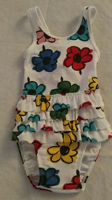 NWT Hanna Andersson Floral Ruffled Swimmy One Piece Swimsuit Baby Toddler Girl