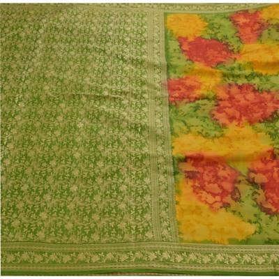 Sanskriti Antique Vintage Indian Saree 100% Pure Silk Woven Craft Fabric Sari