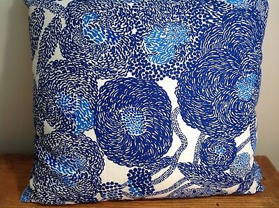 Marimekko Fabric Cushion. Blue and white