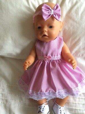 """Doll Clothes to fit 17"""" Baby Born doll ~ Dress & hband  ~ Pink White Check"""