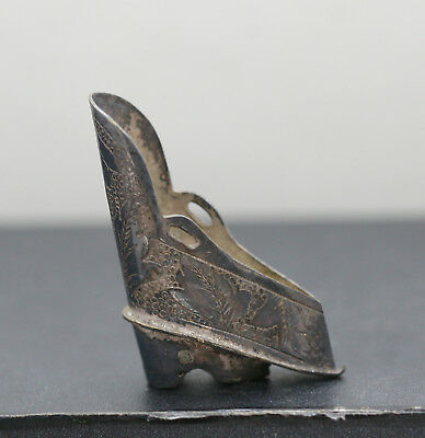 Very Rare Antique Chinese Sterling Silver Miniature Shoe Circa 1890s