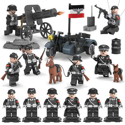 6PCS/set WW2 German Army Soldiers Figures Weapons Military Building Bricks Toys
