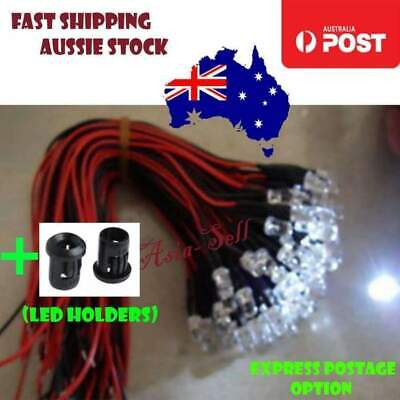 5pcs 5mm 12V Wired LEDs White Blue Green UV Red Yellow Pink Cables LED Holders