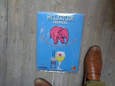 Delirium tremens reclame beer sign metal new in blister Brij Huyghe NEW LAYOUT