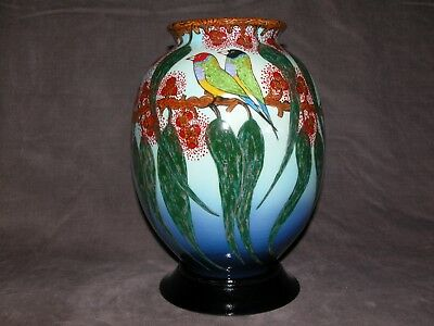 Very Large Hand painted 6 Gouldian Finches Australian pottery vase by D Lyons