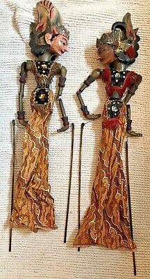 Vintage Wayang Golek Indonesian Traditional Wooden Stick Hand Rod Puppets
