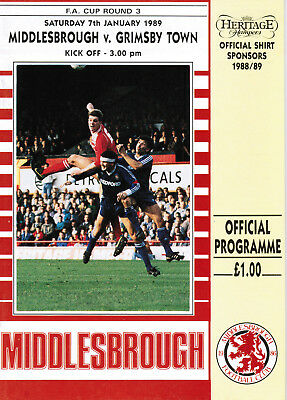 1988/89 Middlesbrough v Grimsby Town, FA Cup, PERFECT CONDITION