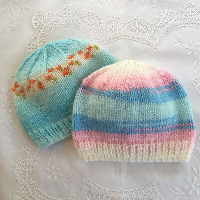 * 2 New Born Plus * Baby Beanies * (Warm) * Aust Hand Knitted