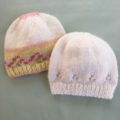 * 2 Premature (5lb) * Baby Beanies * (Warm) * Aust Hand Knitted *