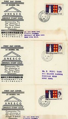 3 Rare First Day Covers, Hong Kong, Rare Cancels, 1966