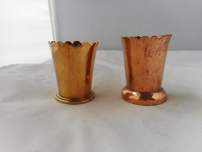 TWO ARTS and CRAFTS COPPER and BRASS PEN/PENCIL HOLDERS