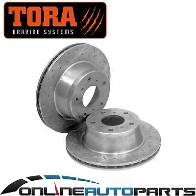 2 Front Dimpled+Slotted Disc Brake Rotors suits Toyota Lexcen VR VS V6 LH & RH