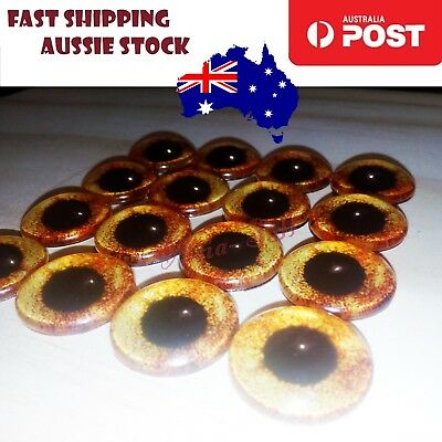 8pcs 20mm Yellow Brown Glass Doll Eyes DIY Craft Toy Dinosaur Time Gem Crafts