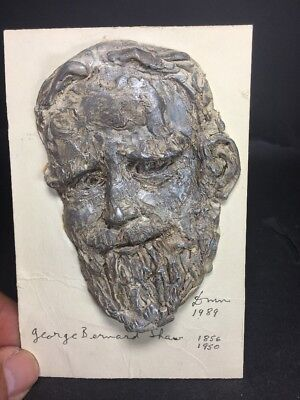 1989 Mask Sculpture On Card Of George Bernard Shaw SIGNED  By Who ? Info Welcome
