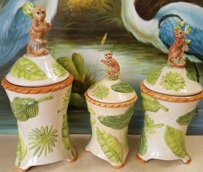 3 American Atelier Monkey 5029 Canisters Monkey Jungle Tropical Ceramic