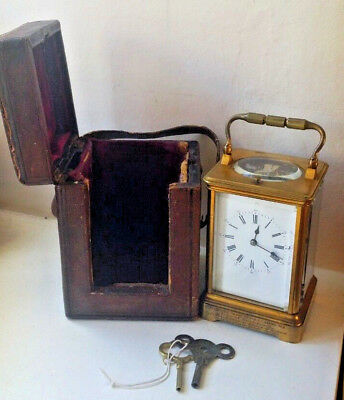 1878 Beautiful Striking Repeating Carriage Clock with Case and Key Dated 1878