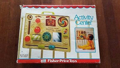 Vintage Fisher Price Activity Center Busy Box Baby Crib Toy With Org