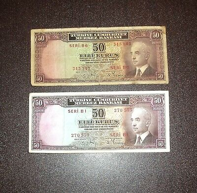 Turkey Lot Of 2 Notes 50 Kurus 1930