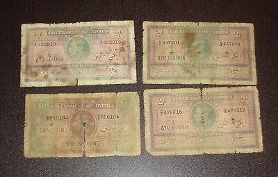 Cyprus Greece Lot Of 4 Notes 1 & 2 Shillings 1940 - 1941 Offer